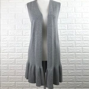 Ann Taylor Loft Gray Sleeveless Open Cardigan XS